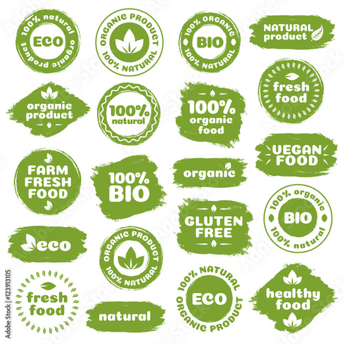 Fototapeta Natural product, healthy food, fresh food, organic product, vegan food, farm fresh food, gluten free, bio and eco label template watercolor shapes isolated on white background. Vector Illustration obraz