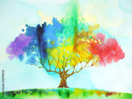 Photo  rainbow tree color colorful watercolor painting illustration design