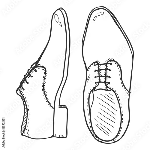 Vector Sketch Illustration , Pair of Classic Men Shoes. Top