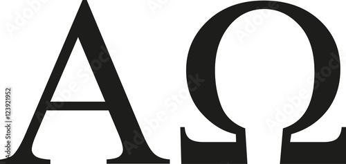 Photo Greek alpha and omega sign