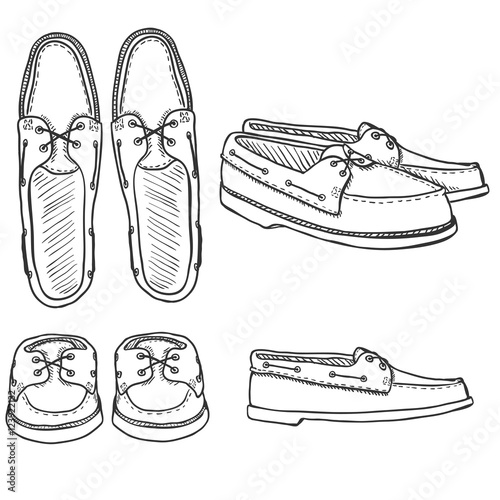 Vector Set of Sketch Topsider Men Shoes. Top, Side and ...