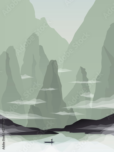 Southeast Asia landscape vector illustration with rocks, cliffs and sea. China or Vietnam tourism promotion.
