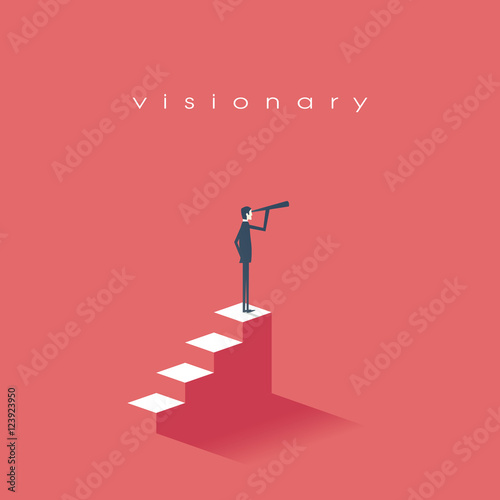 Fotografía  Vision concept in business with vector icon of businessman and telescope, monocular