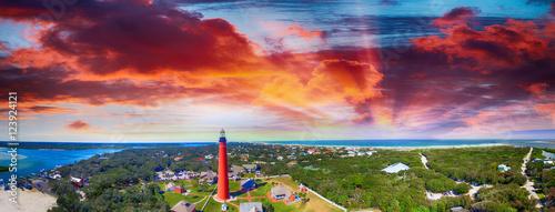 Florida Lighthouse, Ponce de Leon aerial view Canvas Print