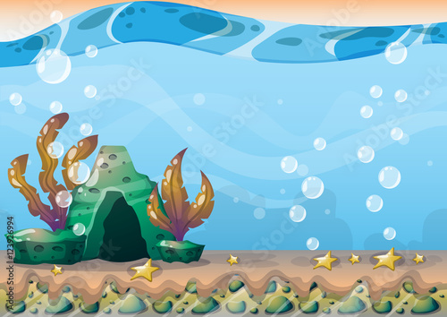 Poster Turquoise cartoon vector underwater background with separated layers for game art and animation game design asset in 2d graphic