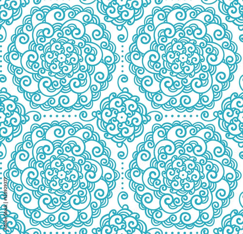 Contour illustration, seamless pattern, flowers, design element, doodle style, patterns, fantasy style, vector, mandala.