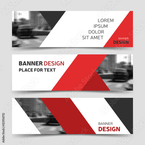 Set of red horizontal business banner templates corporate identity set of red horizontal business banner templates corporate identity flashek Choice Image