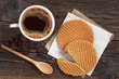 Coffee with round waffles