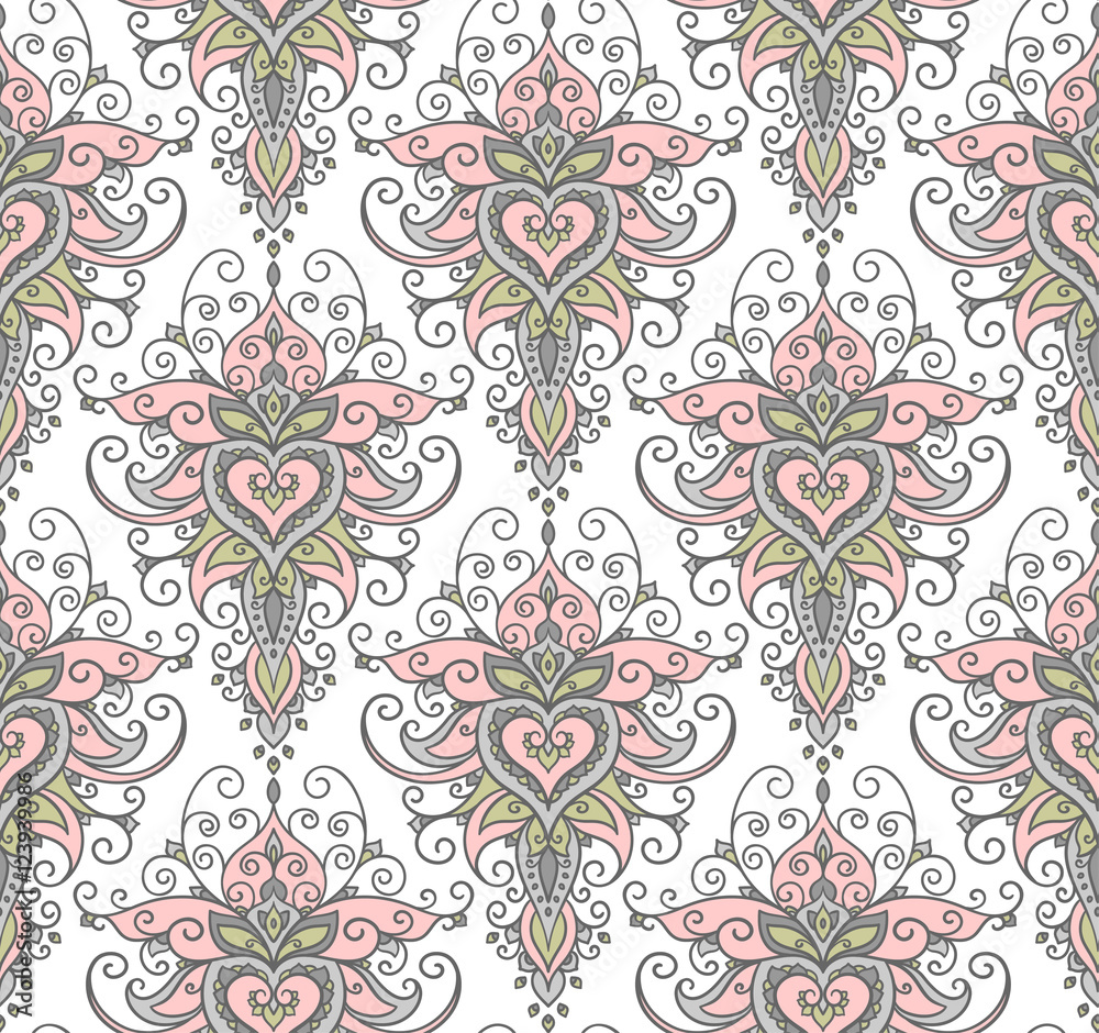 Contour illustration, seamless pattern, flowers, design element, doodle style, patterns, fantasy style, vector, mandala.