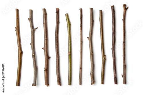 Obraz na płótnie Row of dry wooden twigs