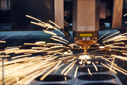 Fotografie, Obraz  plasma or laser cutting metalworking with sparks