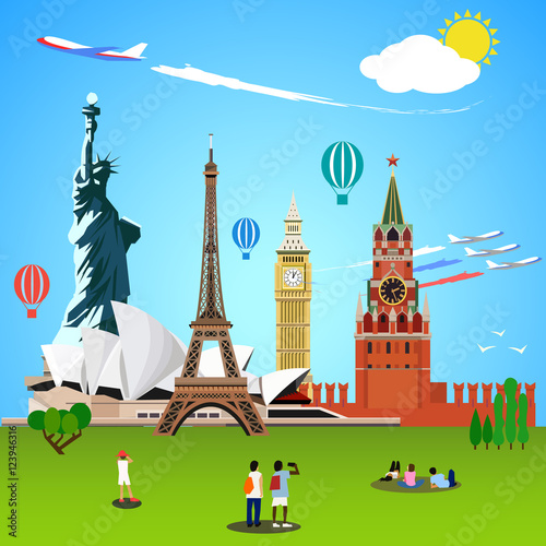 World landmarks concept. Vector illustration for travel design.