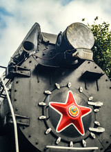 Front Locomotive View. Big Red Star