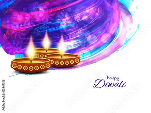 Abstract Colorful Watercolor Happy Diwali Background Design
