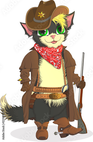 Printed kitchen splashbacks Indians Cat cowboy. Sheriff Wild West