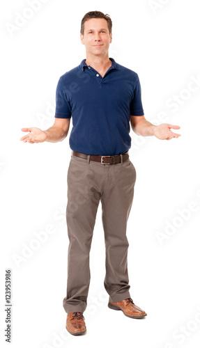 Valokuva  Causal businessman gesturing on white
