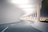 Fototapeta Perspektywa 3d - Tunnel with night city view
