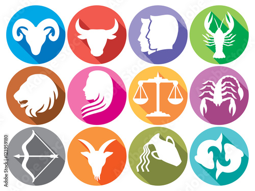 Zodiac Signs Flat Buttons Set Of Horoscope Symbols Astrology Icons
