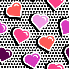 Seamless Pattern With Colorful Badge Shape Hearts On Black Dotty Background. Vector Illustration With Heart Stickers In Cartoon 80s-90s Comic Style. Pop Art Stile Repeating Texture With Red Hearts.