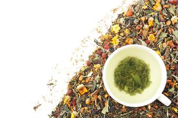 Fototapeta Do herbaciarni Assortment of dry tea on white background