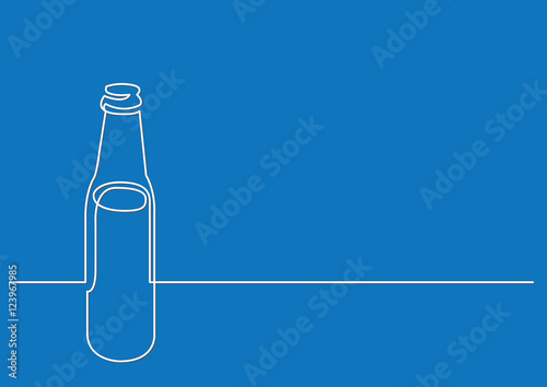 continuous line drawing of beer bottle Wallpaper Mural