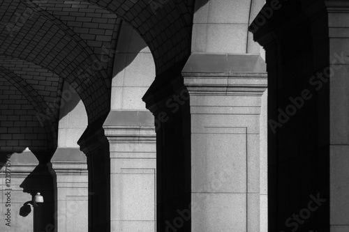 Fotografie, Obraz  colonnade with a surveillance camera in background in black and white