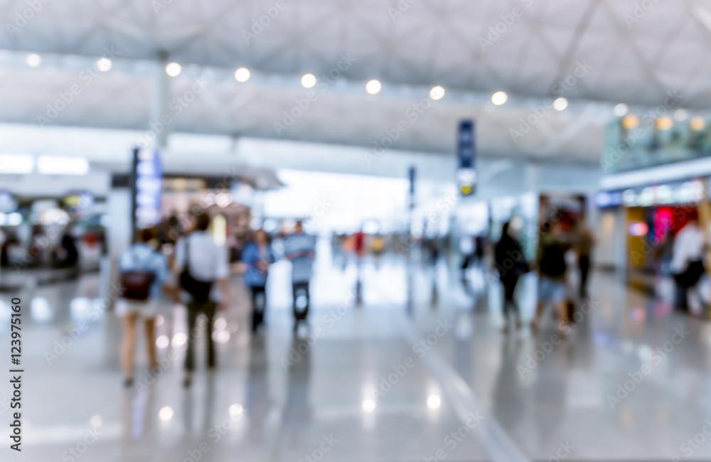 Fototapeta Abstract blur airport interior for backgounrd at Hong Kong