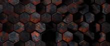 Dark Rusty Metal Hexagon Tiles Background