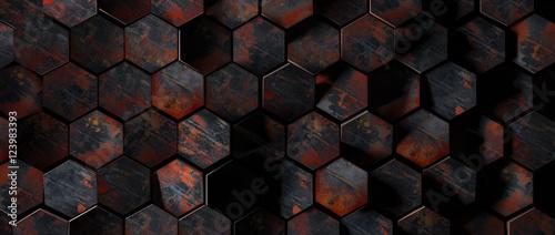 Dark Rusty Metal Hexagon Tiles Background - 123983393
