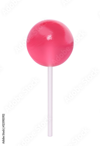 Pink lollipop isolated on white Poster Mural XXL