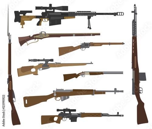 Fotografia Firearm set. Gun, rifle, carbine. Flat design