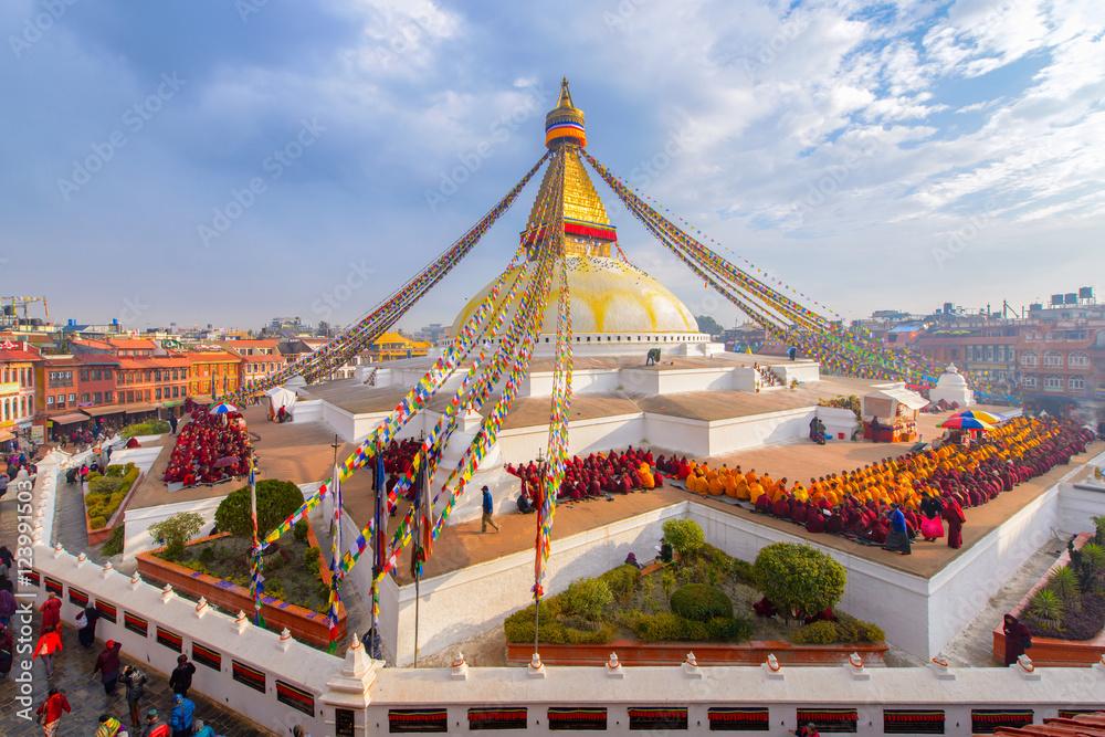 Fotografie, Obraz Beautiful of boudhanath stupa in morning time at