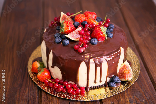 Birthday Cake With Cream And Chocolate Fresh Fruit Berries Slide