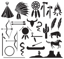 Native American Indians Icons Set (bow And Arrow, Snake, Horse, Bison, Cactus, Tomahawk, Axe, Campfire, Landscape, Wigwam, Chief Headdress, Canoe, Peace Pipe, Dream Catcher)