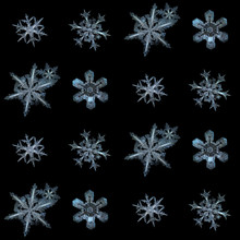 Snowflakes Isolated On Black Background. This Is Collection Of Real Snowflake Macro Photos (large Stellar Dendrite Snow Crystals With Complex Inner Patterns), Arranged In Square Grid.
