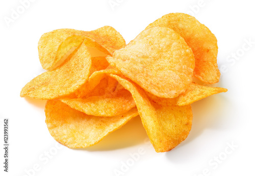 Fotografía Potato chips isolated on white background.