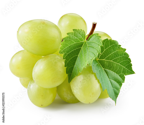 Obraz na płótnie Green grape with leaf isolated on white. With clipping path.