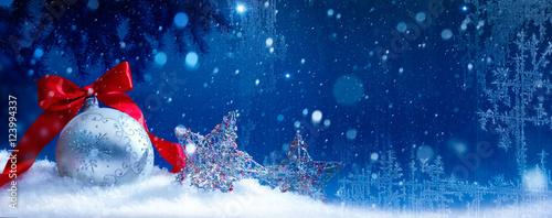 Fototapeta art blue snow christmas background