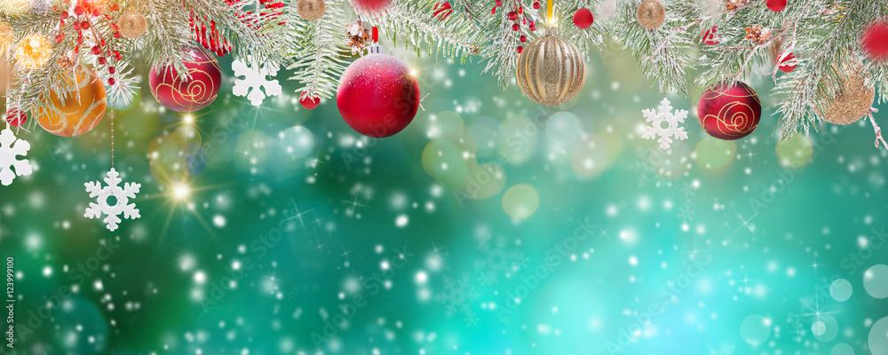 Fototapeta Christmas decoration on abstract background