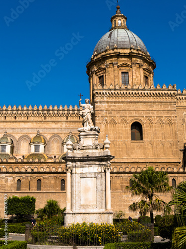 Garden Poster Palermo cathedral with monument of rosalia patron saint of the city of P