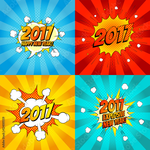 Fotobehang Pop Art Set of comic happy new year banners. Vector illustration. Decorative set of backgrounds for happy new year with bomb explosive in pop art style.