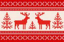 Seamless Knitting Pattern With Deers
