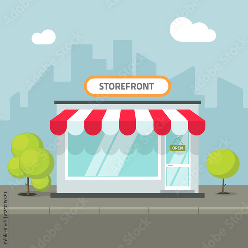 Valokuva Storefront in the city vector illustration, store building on town street, flat