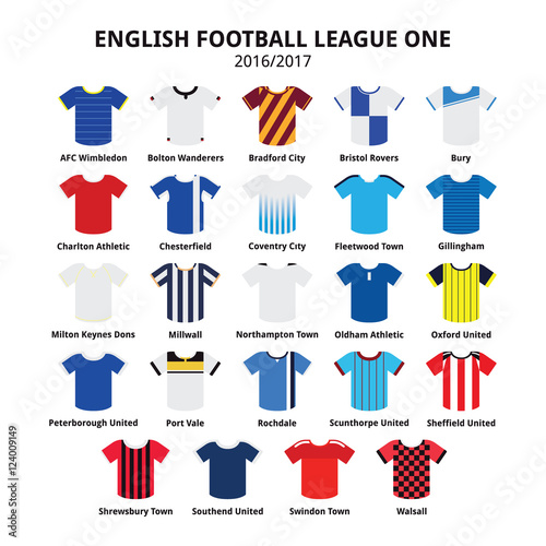English Football League One jerseys 2016 - 2017 vector icons set Canvas Print