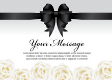 Funeral Card - Black Ribbon Bo...