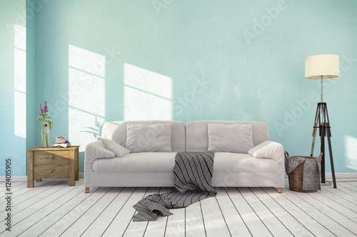 Skandinavisches, Nordisches Wohnzimmer   Sofa   Couch   Textfreiraum    Platzhalter