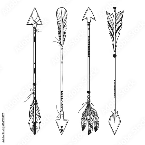 Foto auf AluDibond Boho-Stil set of boho style arrows with feathers and ornaments isolated on white, vector hand drawn illustration