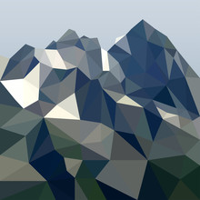 Rock In Polygonal Style. Mount...