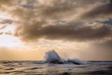 A Wave Breaks In The Vestfjord In Northern Norway. Photo: Marius Fiskum