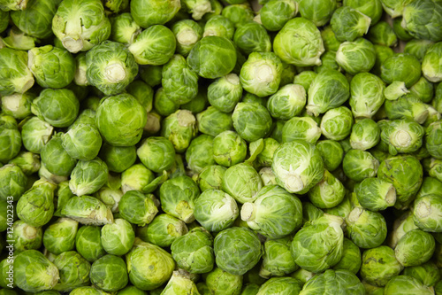 Valokuva  A whole page of Brussel sprouts background texture